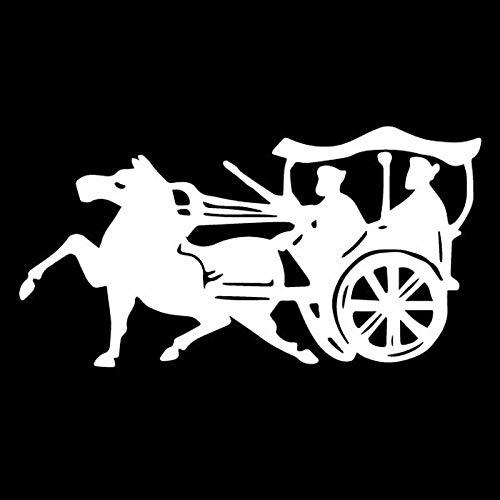 WBXZY 15,5 CM * 8 CM Bonita Sombra Parasol Carro Tiempos Antiguos Hermosa calcomanía de Vinilo decoración Fresca Pegatina de Coche Negro/Plateado C27-1021-Plata