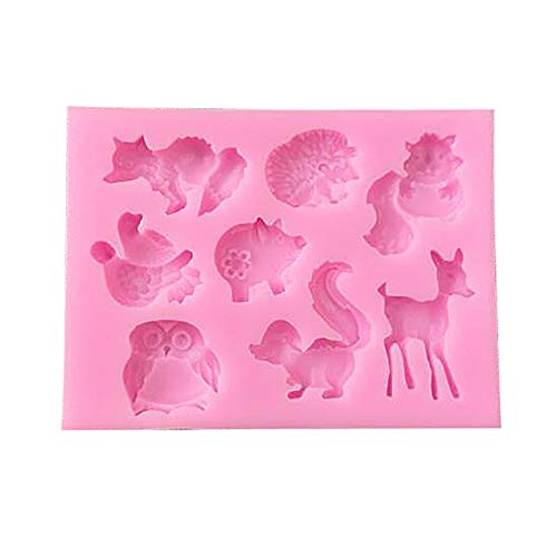 topxingch Eulen-Eichhörnchen-Reh Silikon Kuchen-Form Fondant Süßigkeiten Schokolade DIY Backwerkzeug rose