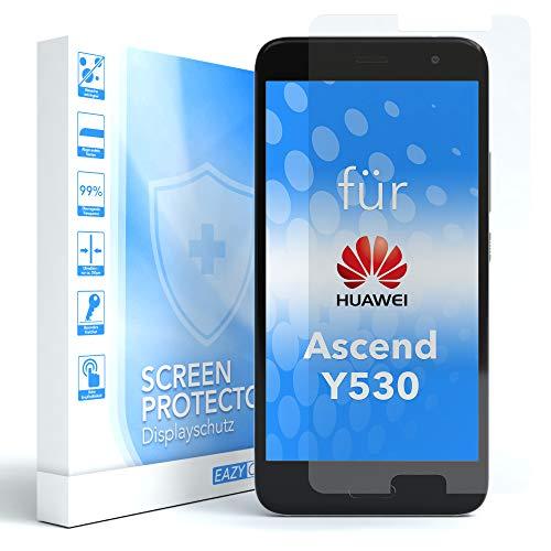 EAZY CASE 1x Panzerglas Bildschirmschutz 9H Festigkeit kompatibel mit Huawei Ascend Y530, nur 0,3 mm dick I Schutzglas aus gehärteter 2,5D Panzerglasfolie, Bildschirmschutzglas, Transparent/Kristallklar