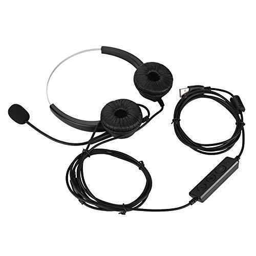 Junluck Fone de ouvido de atendimento ao cliente, VH530D-USB Call Center, fone de ouvido para jogos, voz/música com mãos livres para computador PC, com microfone com cancelamento de ruído