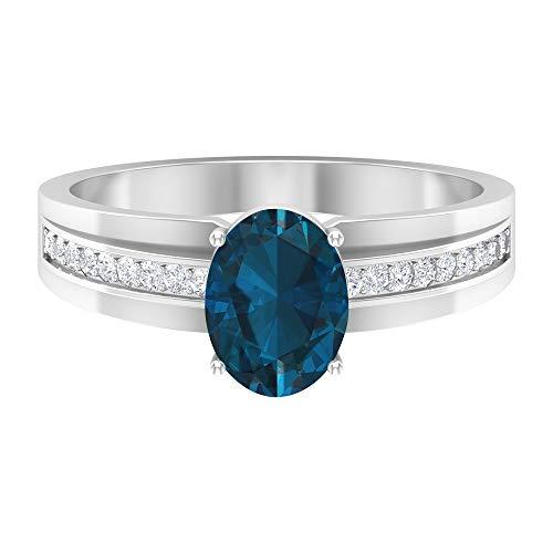 1.75 CT anillo solitario de topacio azul Londres con piedra lateral moissanita, 14K Oro blanco, Size:EU 65
