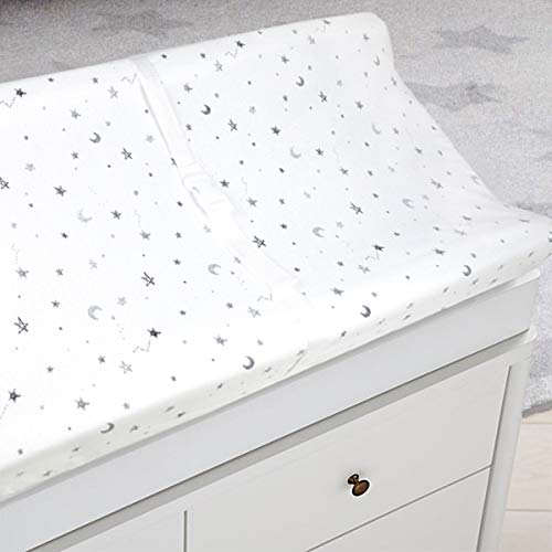 American Baby Company 2 Pack Printed 100% Natural Cotton Jersey Knit Fitted Contoured Changing Table Pad Cover, Grey Stars and Zigzag, Soft Breathable, Boys and Girls