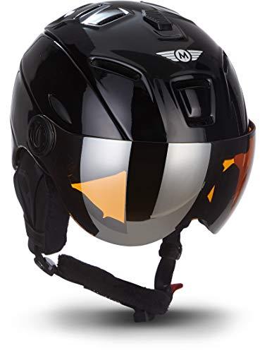 MOTO Helmets K96 · Ski-Helm Snowboard · Damen & Herren · EN-1077 Zertifiziert (Black, M (55-58cm))