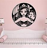 nobrand wandtattoo Wunderschöne Mädchen PVC Wandtapete Baby Kinderzimmer Dekoration Abnehmbare Wandbild Mädchen Schlafzimmer Kunst Aufkleber Tapete 57x32cm