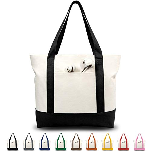 TOPDesign Stylish Canvas Tote Bag with an External Pocket Top Zipper Closure Daily Essentials BlackNatural