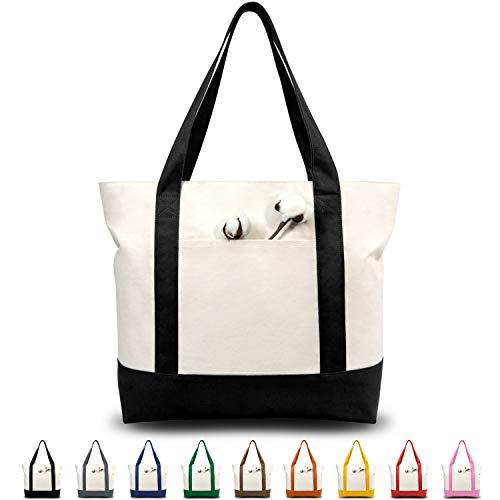 TOPDesign Mehrfarbige Modische Tragetasche aus Baumwollcanvas mit Außentaschen, Oberem Reißverschluss (Schwarz/Naturweiß)