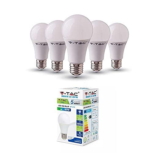 V-TAC E27 LED Lampe, 9W (ersetzt 60W), Tageslichtweiß, 5er-Pack, VT-210, 4000k
