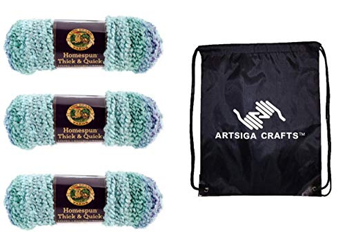 Lion Brand Knitting Yarn Homespun Thick and Quick Seaglass Stripes 3-Skein Factory Pack (Same Dye Lot) 792-214 Bundle with 1 Artsiga Crafts Project Bag -  MPN-792-214