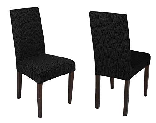 BEAUTEX 2er Set universal Stretch Stuhlhusse, elastische Husse Bi-Elastic, Motiv und Farbe wählbar (Streifen Schwarz)