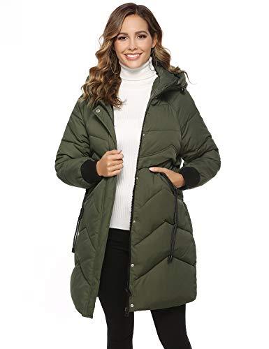 Aibrou Damen Wintermantel Mantel Winterparka mit Kapuze Lange Daunenjacke Winterjacke Outwear Daunenmantel Steppjacke Jacke, Armee Green, XXL