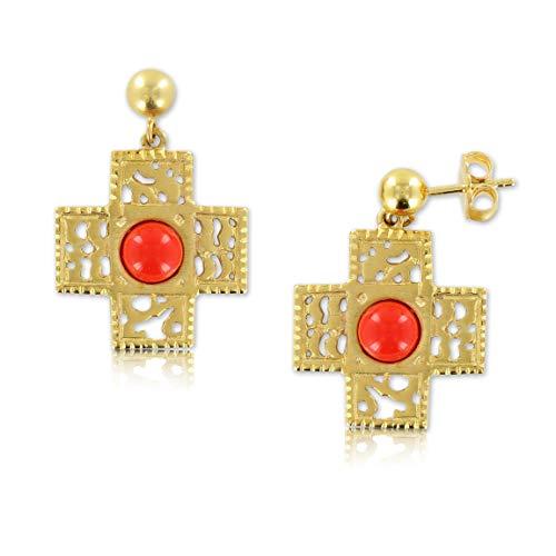 Pendientes para Mujer. Pendientes de Oro Cruz Piedra Rojo Coral Tenue. JEWELS BY OLGA