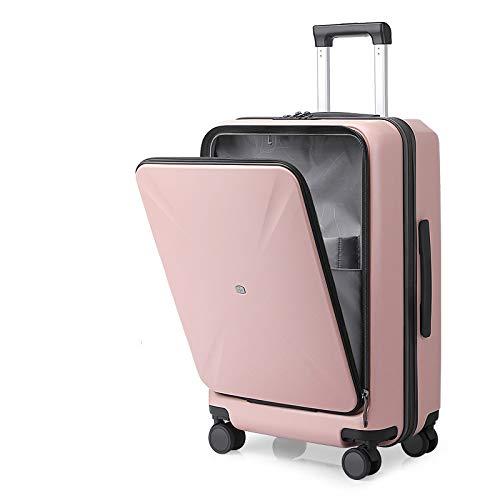 スーツケース フロントオープン 機内持込 キャリーケース フロントポケット 超軽量 耐衝撃 スムーズ走行 ファスナー キャリーバッグ トップオープン 多収納ポケット 人気 静音 小型 TSAロック搭載 旅行出張 1年保証 (Sコード(45 L),ピンク)