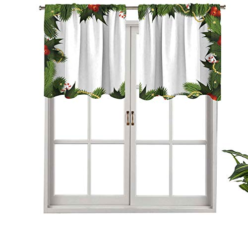 Hiiiman Small Window Valance CurtainsLight Filtering Frame Style Garland Pattern Mistletoes Candy Canes Chain, Set of 1, 36'x18' for Kitchen Dining Girls Room