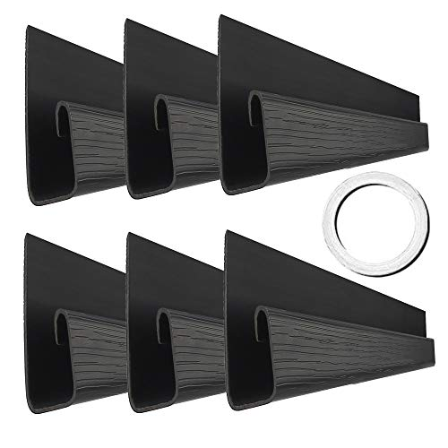 """J Channel Cable Raceway - 70.8"""" Computer Desk Cable Organizer - Under Desk Cable Management with Mounting Tape - Wood Grain Cable Tray for Office, Home, Kitchen (11.8in Each, Small, Black)"""
