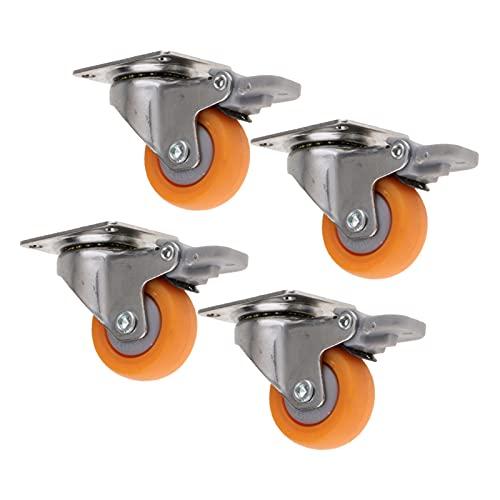 LJSF Ruedas para Muebles 4X Ruedas giratorias industriales de 4X 1.25 Pulgadas de Ruedas de Ruedas de Ruedas con Capacidad de Freno de 17kg Adecuado para Muebles, sillas de Oficina y palets.
