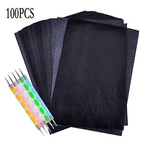 iSuperb 100pcs Carbon Transferpapier Blätter Carbon Papier 5 Pcs Embossing Stylus Kohlepapier Pauspapier für Holz Papier Segeltuch (9 * 13CM 100pcs)