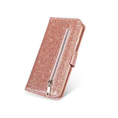 Fun-boutique - Funda para Xiao mi 9 se A3Lite CC9 CC9E, piel con purpurina para Xiaomi Redmi Note 9 8 7 Pro 7 7A 8 8A Funda tipo cartera de lujo con tapa Gold-for Redmi 7