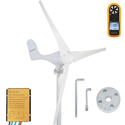 PIKASOLA 400W Wind Turbine Generator AC 12Volt Economy 3 Blades Windmill for Wind Solar Hybrid System 2.5m/s Start Wind Speed,400w Windmill Generator for Home
