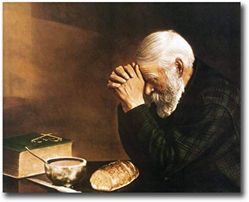 JACKJOM Daily Bread Man Praying at Dinner Table Grace Religious Wall Picture 24x36 Art Print