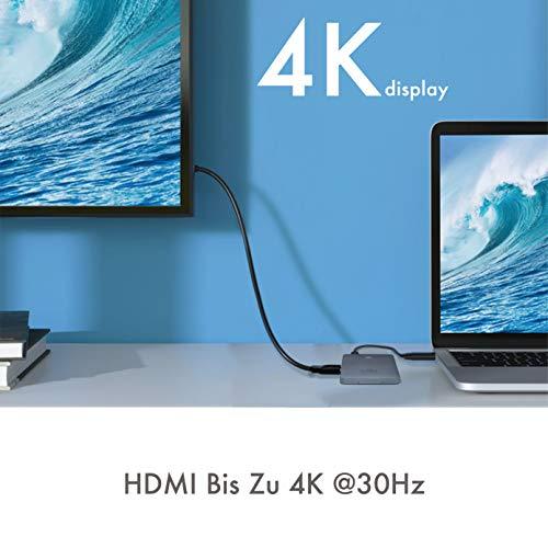ICY BOX All-in-one USB-C Dock mit HDMI 4K 30Hz und M.2 NVMe Adapter Slot, USB 3.1 Gen2, Kartenleser, Power Delivery, Aluminium, Anthrazit