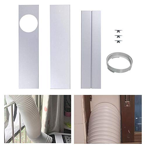 sweetyhomes Exhaust Fume Pipe Baffle, Three-Section Window Kit Plate, Air Conditioning Exhaust Pipe Range Hood Pipe Baffle Fittings Multipurpose Window Vent