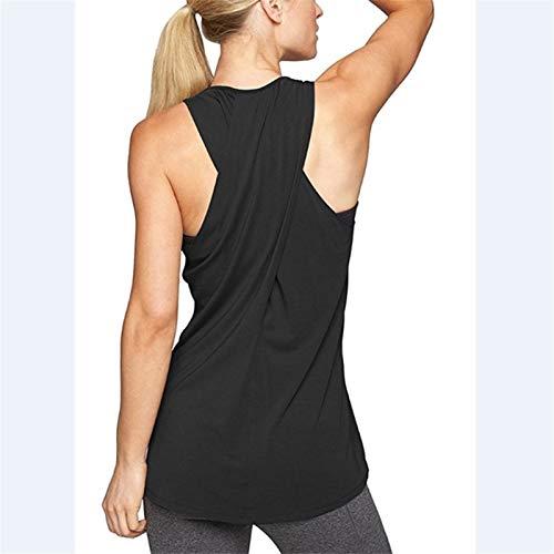 Hong Yi Fei-Shop Camisa para Mujer Sin Espalda sin Mangas Yoga Chaleco Deporte Singlete Mujeres atlético Fitness Deporte Tanque Tops Correr Entrenamiento Camisas de Yoga Camisetas Entrenamiento Ropa