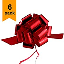 Large Metallic Red Christmas, Valentines Gift Wrap Pull Bows - 5