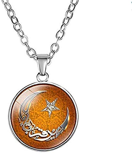 LKLFC Necklace Women Necklace Men Necklace Muslim Islamic God Pendant Necklace 1.8Cm Glass Dome Cabochon Ramadan Gift for Friends Pendant Necklace Girls Boys Gift