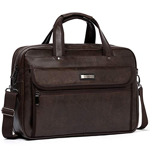 WESTBRONCO Leather Briefcase for Men Laptop Expandable Large Capacity Shoulder Messenger Bag for Men Travel Business College