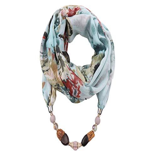 Bufanda de Mujer, Colgante de Piedra con Cuentas geométricas Bufanda Floral Collar de Cadena de Metal Collar de Estilo étnico Círculo Infinito Bucle a Prueba de Sol Bufanda y Chal