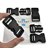 SGH Pro Quick Side Release Buckles 1' Wide 4 Pack Dual Adjustable No Sewing Clips Snaps Heavy Duty Plastic Replacement for Nylon Strap Boat Cover Backpack Fanny Pack Nylon Webbing Belt Dog Collars