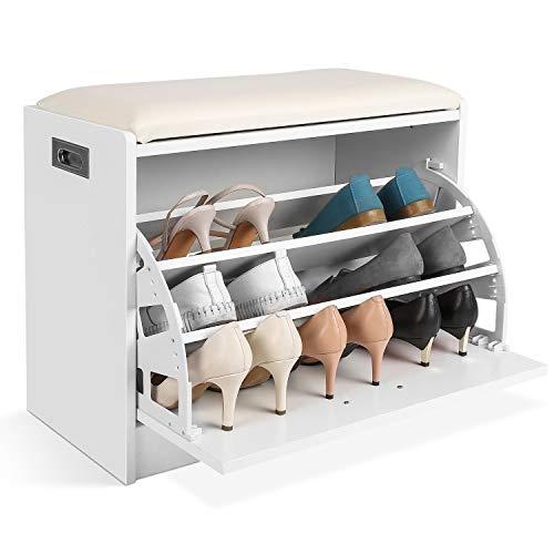 Zapatero Shoe Bench Ottoman Shoe Storage Rack Gabinete de Madera con cojín de Asiento for el Pasillo Dormitorio Brown 63 * 30 * 44cm (Color : White)
