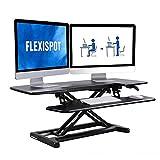FLEXISPOT Standing Desk Converter 42 inch Sit Stand Desk Riser Black Stand Up Desk Office Desktop Height Adjustable Desk for Dual Monitors and Laptop