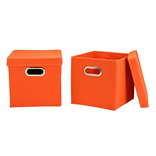 Household Essentials 32-1 Decorative Storage Cube Set with Removable Lids   Orange   2-Pack