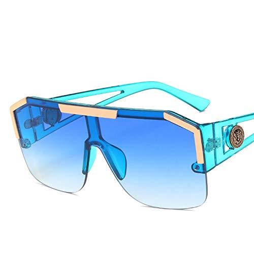 baidicheng Gafas de sol 2021 Nuevas gafas de sol Hombre/Mujer Conducción Sombras Masculino Gafas de sol Viaje Vintage (Color de las lentes: Azul Azul)