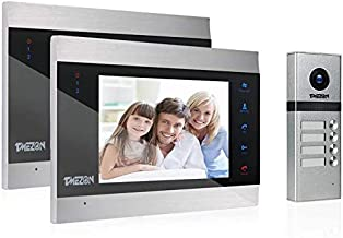 TMEZON Video Door Phone Doorbell Intercom System,Door Entry System with 7 Inch 2-Monitor 1-Camera for Families,Touch Butto...