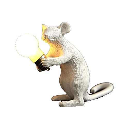YGRHHP Diseño de arte ratón de resina blanca luz de noche decoración de escritorio iluminación LED creativa lámpara de noche para habitación de niños lámpara de mesa de ratón dorado blanco sentado