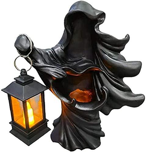 wangYUEQ Decoraciones for el hogar de Halloween y Resina de Halloween Sculpture Ghost Fantasma Fantasma Decoración con Linterna Solar Blanco (Color : Style04)