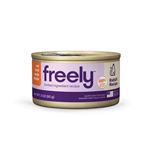 Freely Limited Ingredient Diet, Wet Cat Food, Natural Grain Free Cat Food Canned, Rabbit, 3oz x 12 cans