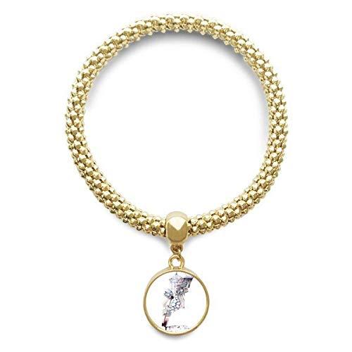 DIYthinker Womens barokke architectuur gebouw aquarel schilderij gouden armband ronde hanger sieraden ketting