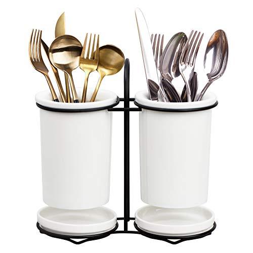 Kitchen Cooking Utensil Ceramic Holders Tableware Organizer Crock Flatware Storage Container White Cooking Tool Jar Kitchenware Organizer
