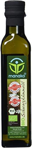 manako BIO - Schwarzkümmelöl human, kaltgepresst, 100 % rein, 2 x 250 ml Glasflasche (2 x 0,25 l)