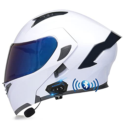 ZHANGYUEFEIFZ Bluetooth Casco de Moto Modular ECE Homologado, Cascos Motocicleta Scooter Integrado con HD Anti Niebla Doble Visera para Mujer Hombre (Color : J, Size : (M/57-58CM))