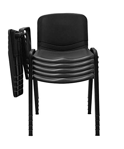 EUROPOLTRONE Kit 10 sedie Ufficio con bracciolo tavoletta Sala riunioni in Polipropilene Telaio Certificato CATAS… (Nero)