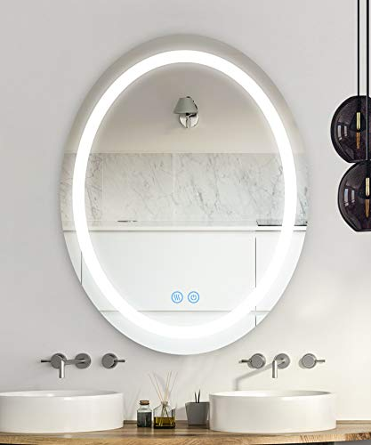 BSLE Led Lighted Bathroom Mirror Oval Wall Mounted Lighted Make Up Mirror with Smart Touch, Anti-Fog, 3 Color Mode (24'x 30')