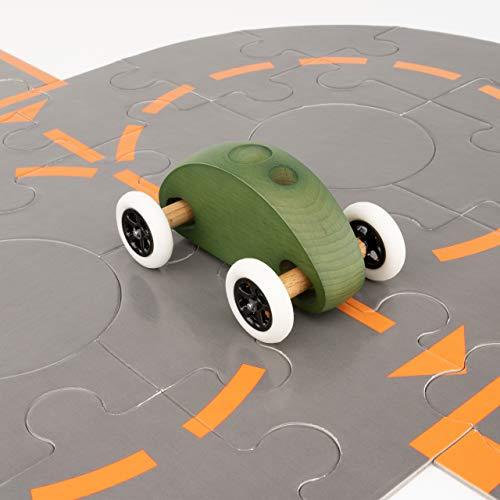 Trihorse Fingercar Spielzeugauto aus Holz - Schult die Feinmotorik - Holzspielzeug für Kinder & Erwachsene - Premium Holzfahrzeug (Fingercar mit Puzzle, Grün)