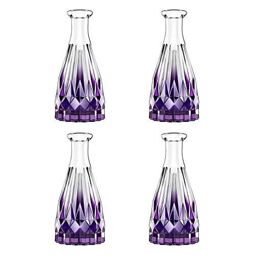 Lewondr Difusor de Perfume, [4 PZS] Botellas Rellenadas de Vidrio Transparente, Botella Vacía de Aceite Esencial para Aromatizar Todos los Ambientes - Violeta