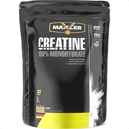 Maxler Creatin Monohydrat 1000 g - Vegan Nahrungsergänzung für Kraft Training - Creatin Pulver für Gewicht zunehmen, Wiederherstellung und Muskelaufbau - Neutraler Geschmack - 332 Creatin Portionen