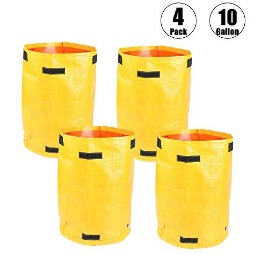 Paquete de 4 bolsas de cultivo para patatas de jardín, duraderas, para cultivo de plantas al aire libre, bolsas de verduras con asa de acceso a la solapa, bolsas de contenedores impermeables