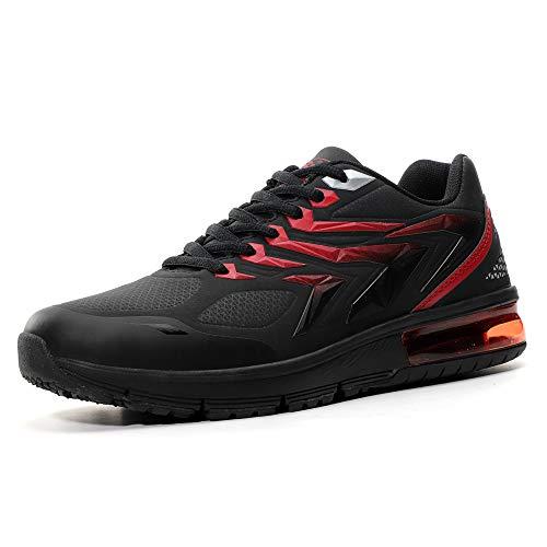 AX BOXING Herren Sportschuhe Laufschuhe Sneaker Atmungsaktiv Leichte Wanderschuhe Trainers Schuhe Größe 40-46 (Schwarzrot, Numeric_43)